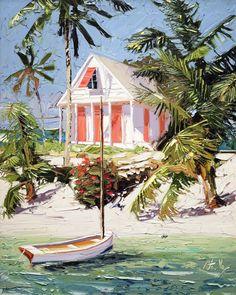 Peter Vey — Gallery On Greene Flor Magnolia, Caribbean Art, Illustration Art, Illustrations, Tropical Art, Coastal Art, Summer Art, Beach Art, Beautiful Paintings