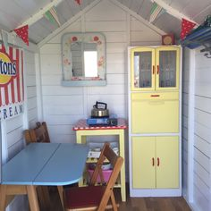 I'd like to order some sun now please. Beach Hut Shed, Beach Hut Decor, Beach Huts, Beach Hut Interior, Shed Interior, Allotment Shed, Beach Color Palettes, Summer House Interiors, Beach Cabana