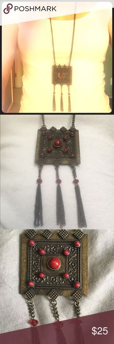 "Funky Vintage necklace! Funky Vintage necklace with beautiful red beading and metal detail.  3 fringes- measures approximately 19"" from clasp to the bottom of the fringe. Great piece! Jewelry Necklaces"