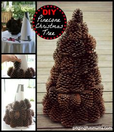 Pinecone Tree Centerpiece: Easy and inexpensive Pinecone Craft - Perfect Table Centerpiece for Christmas. Includes a DIY tutorial on making a cone base from scratch.