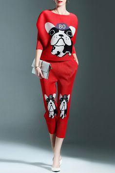 Cartoon Dog Print Top and Pants Twinset