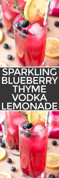 A Sparkling Blueberry Thyme Vodka Lemonade has just the right amount of fruity tartness to keep you refreshed this summer! The surprising addition of thyme brings a subtle herbaceous note that you won't be able to get enough of. Be prepared to indulge in at least two! Sparkling Blueberry Thyme Vodka Lemonade   cakenknife.com #cocktail #recipe