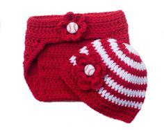 BASEBALL BABY GIRL, Crochet Baby Baseball, Newborn Baseball Hat, Girl Baseball Beanie, Baseball Diaper Set, Baby Girl Baseball Button Hat by Grandmabilt on Etsy