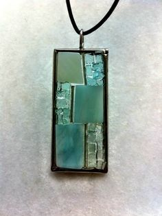 Glass abstract mosaic pendant by Albedomosaics on Etsy, $10.00