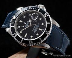 Rolex Submariner 16610 sur bracelet alligator bleu Radium Concept