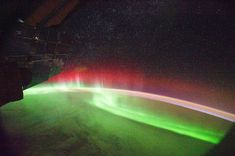 Aurora borealis as seen from the International Space Station.
