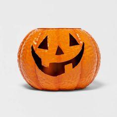 Halloween Town, Halloween Pumpkins, Halloween Decorations, Pumpkin Planter, Metal Pumpkins, Metal Containers, Pumpkin Faces, Green Plants, Hallows Eve