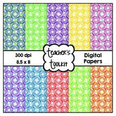 $ #Swirls #Digital #Papers {8.5 x 11} #Clip #Art CU OK