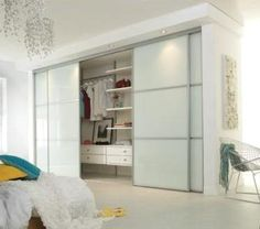 Simple white wardrobe sliding kit interior design ideas