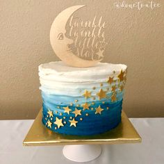 Baby Shower Themes, Baby Boy Shower, Baby Shower Decorations, Baby Shower Cakes For Boys, Bolo Do Sistema Solar, Star Cakes, Ombre Cake, Funfetti Cake, Star Baby Showers