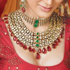 Types and Varieties of Indian Bridal Jewellery - sets, bangles, nose ring, anklets, toe ring, tikka,  finger-linked bracelets