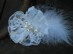 Diana Barry  feather hairpiece wedding hairpiece, lace, rhinestones by VintageLizy, $32.00
