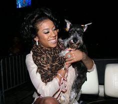 Singer Keyshia Coles and Mini Schnauzer Lola