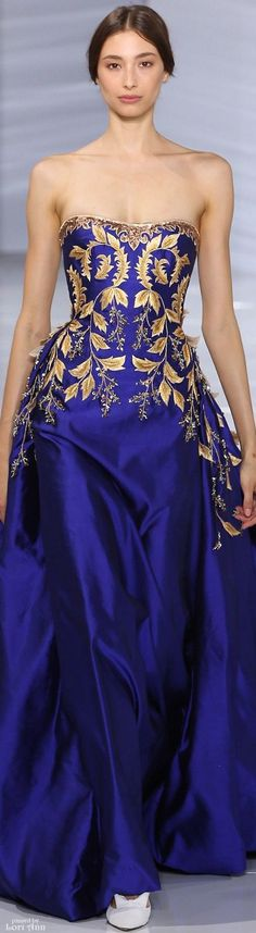 Georges Hobeika ~ Couture Royal Blue Satin Gown w Gold Leaf Embroidery, Fall 2015