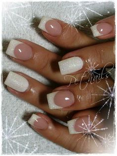 Ongles gel french, french manucure, french tip nails, bridal nails french. French Manicure With A Twist, French Pedicure, French Tip Nails, French Tip With Glitter, Winter Wedding Nails, Winter Nails, Snow Nails, Glitter Manicure, Manicure E Pedicure