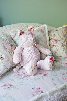 shabby chic kitty cat vintage chenille bedspread pink white roses baby girl stuffed animal cottage