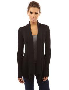 PattyBoutik Women's Ribbed Cascading Open Cardigan (Light Gray S) at Amazon Women's Clothing store: Womens Cardigan Long Sweaters