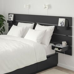 Bed Frame With Storage, Bed Storage, Storage Spaces, Storage Headboard, Nordli Ikea, Painted Beds, Wood Headboard, Bed With Headboard, Modern Headboard