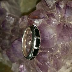 Native American Sterling and onyx band Size 8 vintage band stamped 925 black onyx Vintage Jewelry Rings