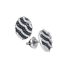 1-2CTW-Diamond MICRO-PAVE BLACK EARRING