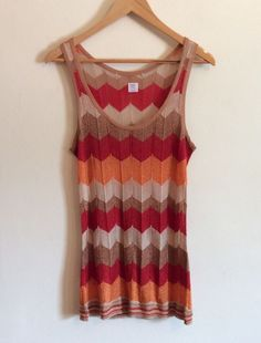 SPARKLING Blouse Top Striped Sleeveless Red Orange Summer Women Girls Size S…