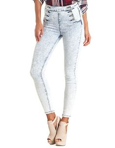 High-Waisted Sailor Button Acid Wash Skinny Jeans #CharlotteRusse #CRFashionista #jeans