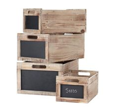 Produce Crates. Convenient carrying handles, chalkboard insets for identifying contents. http://www.farmersmarketonline.com/marketsupply.htm
