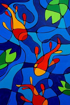 abstracte vissen schilderij