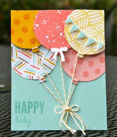 Attaching balloon strings:Krystal's Cards: Stampin' Up! Celebrate Today Coastal Coral