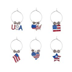 Wine Charms - Go USA  >>  Take a set of these fun, patriotic themed wine charms to the next picnic. Quite a few styles available.   6 charms in an elegant gift box