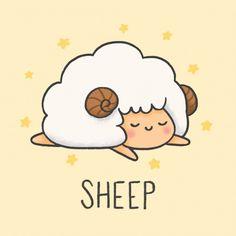 Cute Easy Drawings, Cute Cartoon Drawings, Cute Animal Drawings, Kawaii Drawings, Sheep Cartoon, Cute Cartoon Animals, Cute Animals To Draw, Alpaca Cartoon, Doodle Art