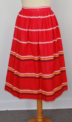 Red Circle skirt with Chevron/ RickRack print by MillerAndCampbell, $30.00