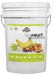 FRUIT BUCKET: You get strawberries, apples, peaches, raspberries, bananas and blueberries Freeze-dried fruit variety pail is loaded with antioxidants and can be re-hydrate to use anywhere your favorite recipes calling for fresh fruit, or as a delicious snack right out of the package. Includes apple delight drink mix. http://www.happypreppers.com/Augason-farms.html