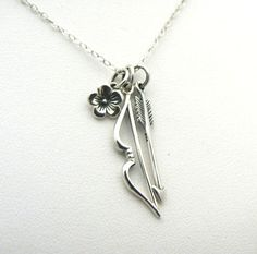 Bow Arrow Necklace Katniss Hunger Games Inspired Sterling Silver Charm Jewelry Mockingjay Archery Archer Catching Fire Charms Cluster on Etsy, $40.00