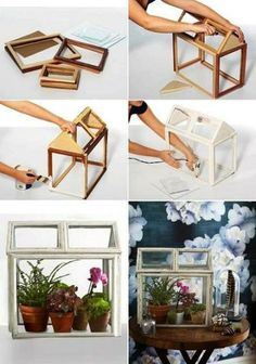 DIY Picture Frame Terrarium Project. I want to do a little fairy garden inside :)