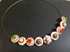 Button Necklace Spots and Stripes Wooden Button Choker Candy Cane £9.50