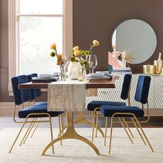 We welcome you to our contemporary table department for the dining room. Give your dining room a modern atmosphere in just a few clicks thanks . Dining Room Sets, Luxury Dining Room, Dining Room Design, Gold Desk Chair, Ikea Chair, Esstisch Design, Trestle Dining Tables, West Elm, Plywood Furniture