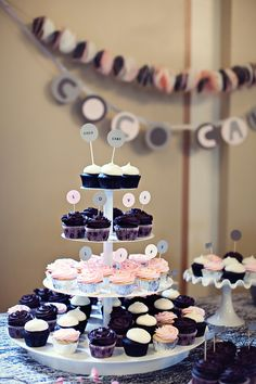 Love Life wedding cupcake display ...     photo by Jeanie Ow.   wedding cupcakes: pink, grey, white and black palette    #cococake #cococakecupcakes #cococakevancouver #indieido