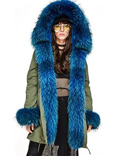 a0a37bdae0f Melody Women s Winter Real Raccoon Fur Collar Hooded Coat... https