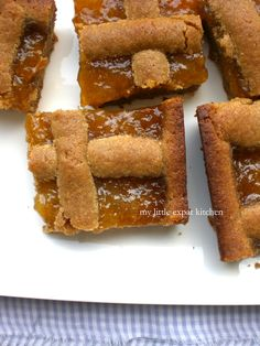 Nectarine Jam and Semolina Biscuit Bars by My Little Expat Kitchen