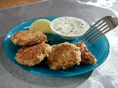 Tuna Croquette from Alton Brown.  This was really good and we served it with the mustard-chive sauce from the broiled tilapia recipe.