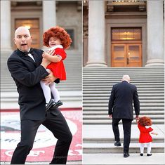 Annie and Daddy Warbucks costumes! #diycostumes #daddydaughtercostumes Little Girl Halloween Costumes, Clever Halloween Costumes, First Halloween, Cute Costumes, Baby Costumes, Awesome Costumes, Costume Ideas, Halloween Ideas, Original Halloween Costumes