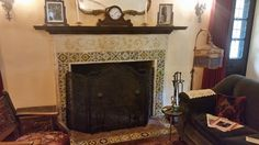 Beautifully tiled fireplace at the historic Homestead House in Los Angeles | by Avente Tile