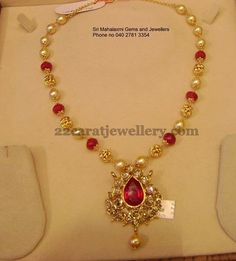 Ruby beads and south sea pearls combination simple necklace with 22 carat gold metal. Nice pachi work pear shaped pendant comes in the ce. India Jewelry, Pearl Jewelry, Antique Jewelry, Beaded Jewelry, Gold Jewellery, Pendant Jewelry, Beaded Necklace, Gold Necklace, Simple Necklace
