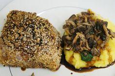 como fazer receita facil rapida atum selado teriyaki frutos do mar massas salgados com pure de batata baroe e shimeji mandioquinha