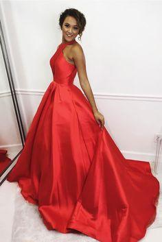 Brilliant Satin Jewel Neckline Chapel Train A-line Prom Dress M2960
