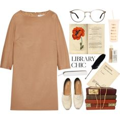 Library chic Leeds met by thestyleartisan on Polyvore featuring mode, MaxMara, TOMS, GlassesUSA, Kiehl's and ban.do
