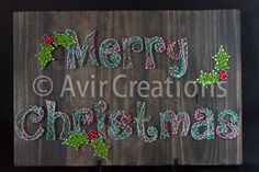 Merry Christmas String Art Board by AvirCreations on Etsy