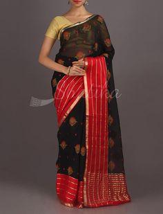 Ravina Budding Flowers Broad Color Border Pure #MysoreChiffonSaree