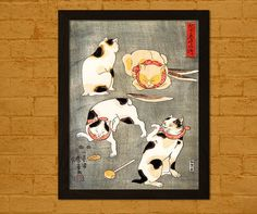 Japanese Art Print  Four Cats In Different Poses by VoyagesVoyages